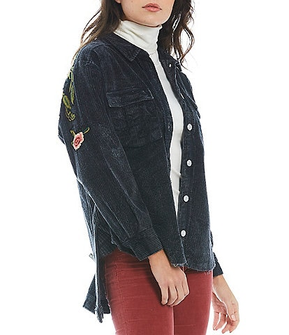 Free People Dawn Break Floral Embroidery Point Collar Long Sleeve Button Front Corduroy Top