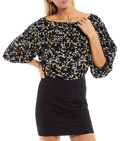 Free People Floral Print Boat Neck Puff Elbow Sleeve Mixed Media Bodysuit