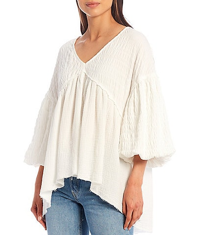 Free People Flower Power 3/4 Balloon Sleeve V-Neck Knit Top