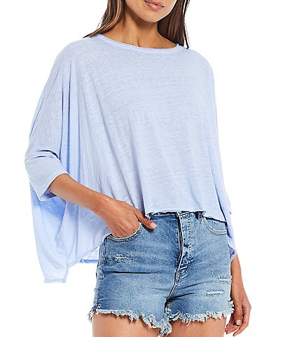 Free People FP Movement Burn Baby Burn Cotton Blend 3/4 Sleeve Soft Tee