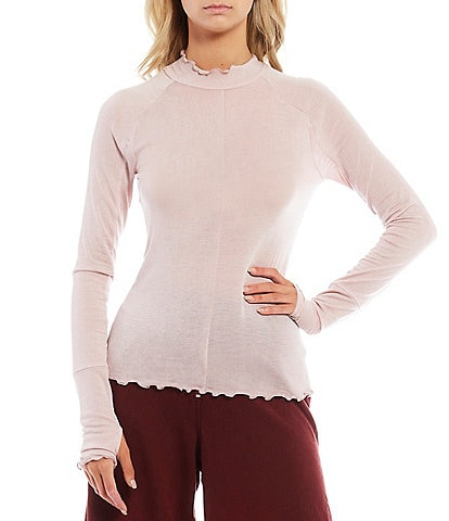 Free People FP Movement High Jump Thumbhole Detail Lettuce Edge Hem Long Sleeve Mesh Top