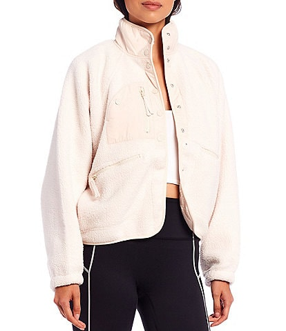 Free People FP Movement Hit The Slopes Snap Front Fleece Jacket