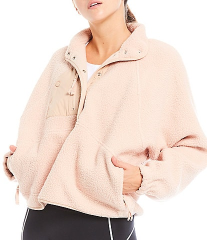 Free People FP Movement Hit The Slopes Snap Placket Fleece Sweatshirt