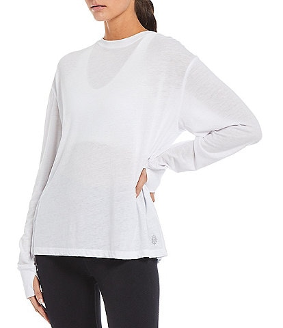 Free People FP Movement Keep Rolling Crew Neck Long Sleeve Solid Top