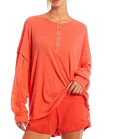 Free People FP Movement One Up Henley Neck Long Sleeve Oversized Tee