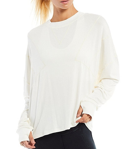 Free People FP Movement Runner Up Crew Neck Long Sleeve Layer Top
