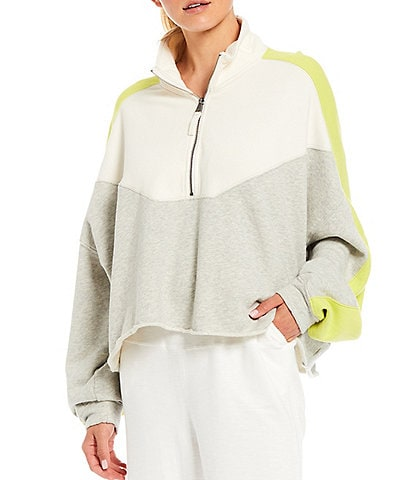 Free People FP Movement Stand Collar Long Sleeve Color Block Quarter Zip Jacket