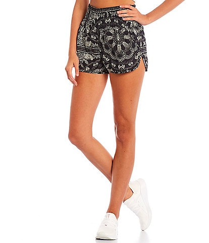 Free People FP Movement The Way Home Elastic Waist High Rise Printed Pull-On Shorts