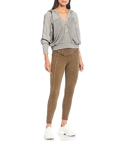 Free People FP Movement Windy Meadow Slouchy V-Neck Long Sleeve Frayed Hoodie
