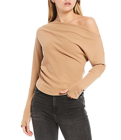 Free People Fuji Thermal Knit Asymmetric One Shoulder Long Sleeve Top