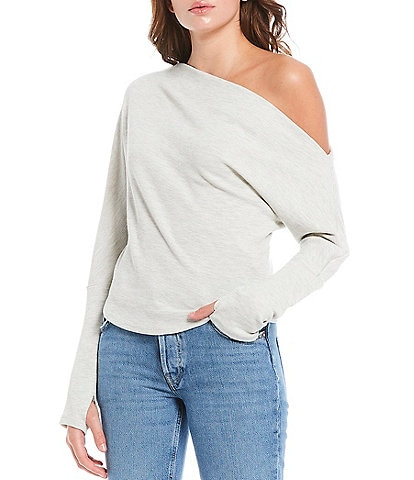 Free People Fuji Thermal Knit Asymmetric One Shoulder Long Sleeve Top