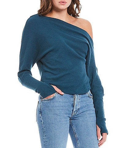 Free People Fuji Thermal Knit Asymmetric Long Sleeve Top
