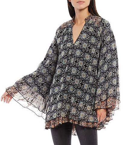 Free People Gabi Floral Print V-Neck Long Bell Sleeve Drapey Open Back Detail Tunic