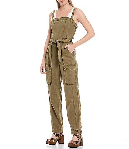 Free People Go West Utility Tie Waist Sleeveless Jumpsuit