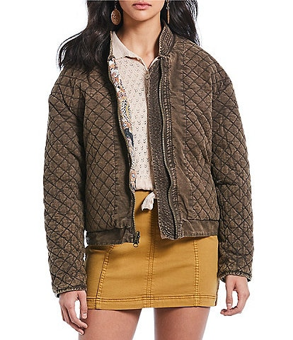 Free People Great Escape Reversible Zip Front Bomber Jacket