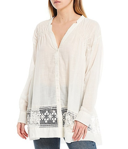 Free People Green Gardens Banded Notch Neckline Roll-Tab Sleeve Lace Hem Button Front Tunic