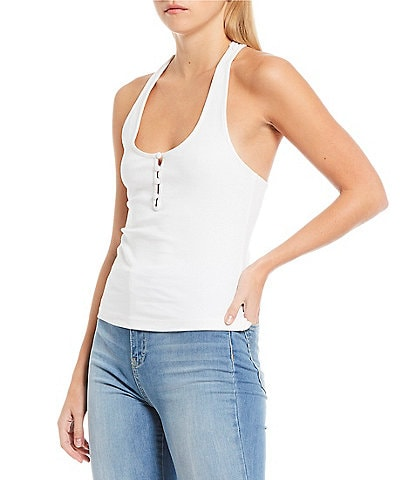Free People Hang Out Knit Halter Cami Lounge Top