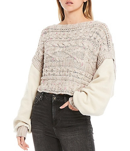 Free People Honey Cable Knit Boat Neck Long Drop Shoulder Fleece Sleeve Cropped Sweater