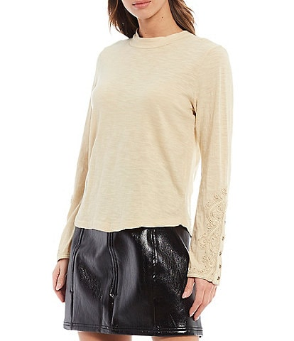 Free People Hooked On You Cuff Knit Mock Neck Top