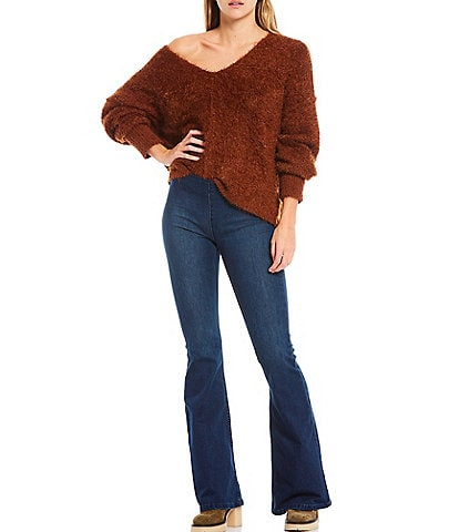Free People Icing V-Neck Long Sleeve Fuzzy Eyelash Slouchy Pullover