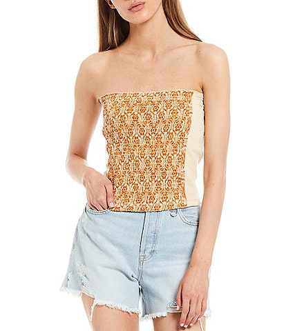 Free People In The Groove Geo Print Strapless Smocked Tube Top
