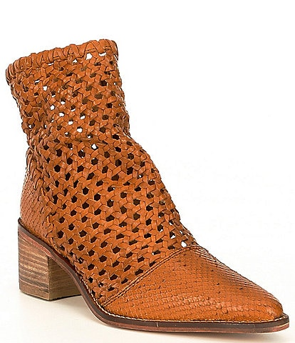 Free People In The Loop Woven Leather Pointed Toe Block Heel Booties
