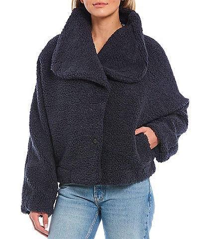 Free People Izzy Asymmetrical Button-Front Wrap Teddy Sherpa Jacket