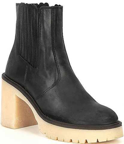 Free People James Leather Block Heel Chelsea Booties