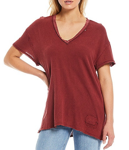Free People Joni Short Sleeve V-Neck Basic Relaxed Tee