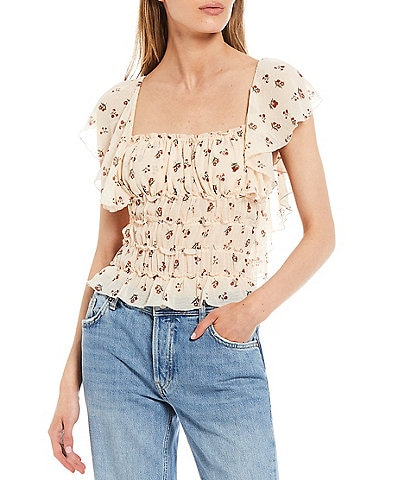 Free People Juliet Sheer Floral Print Square Neck Ruffle Cap Sleeve Ruched Bodysuit
