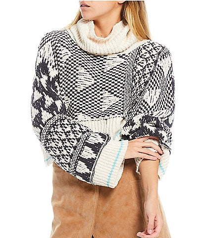 Free People Jupiter Cowl Neck Long Sleeve Cropped Pullover Sweater