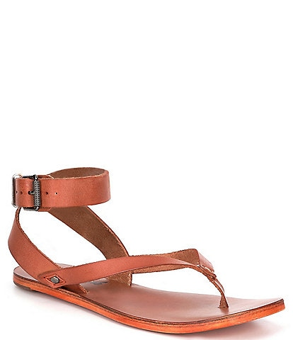Free People Kai Leather Ankle Strap Thong Flat Sandals