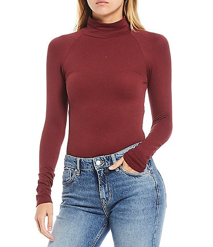 Free People Knit Turtle Neck Long Sleeve Bodysuit