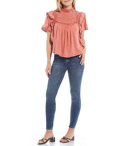 Free People Le Femme Crochet Lace Short Sleeve Blouse
