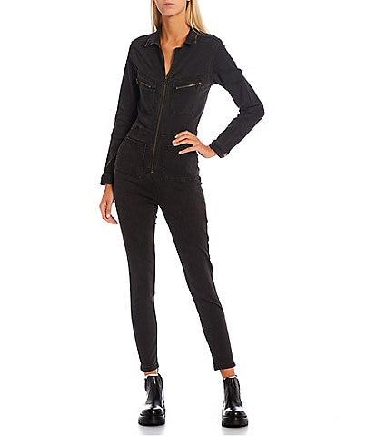 Free People Lennox Zipper Front Stretch Point Collar Long Sleeve Denim Jumpsuit