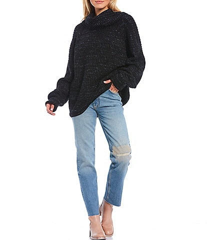 Free People Leo Long Dolman Sleeve Turtleneck Sweater Tunic