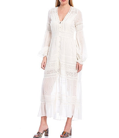 Free People Lisa Button Front V-Neck Long Sleeve Crochet Midi Dress