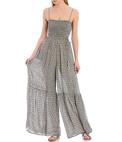 Free People Little Of Your Love Square Neck Smocked Bodice Wide Leg Jumpsuit