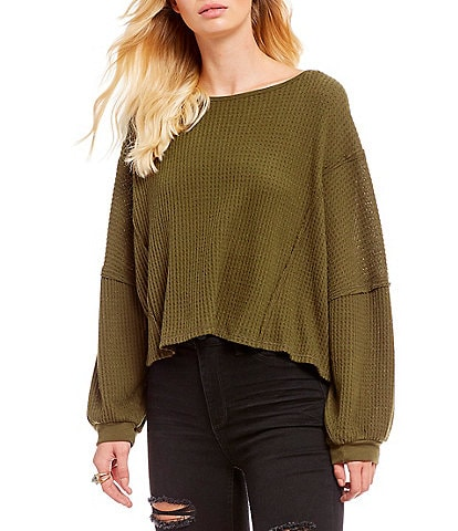 Free People Love Me Thermal Peasant Sleeve Twist Back Top