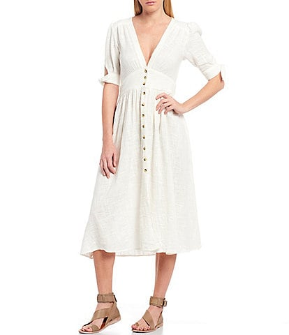 Free People Love Of My Life Deep V-Neck Short Tie Sleeve Button Front Midi Dress