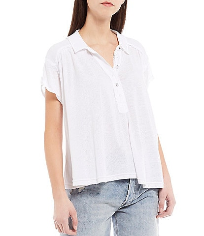 Free People Low Down Henley Relaxed Fit Linen Blend Tunic Top