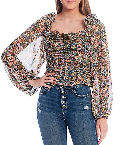 Free People Mabel Floral Print Ruffle Square Neck Long Balloon Sleeve Ruched Bodice Blouse