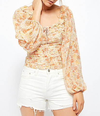 Free People Mabel Floral Print Square Ruffle Neck Long Balloon Sleeve Ruched Bodice Blouse
