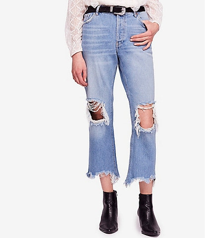 Free People Maggie Straight Mid Rise Distressed Jean