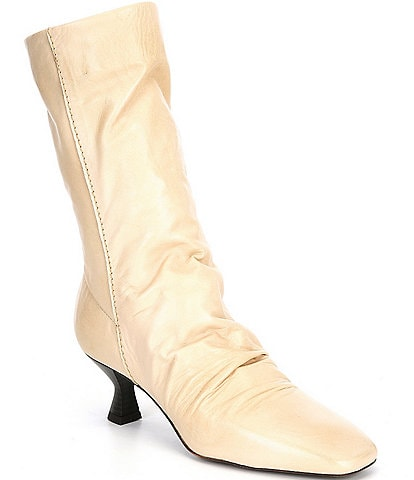 Free People Marcella Square Toe Leather Mid Boots