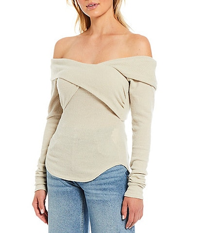 Free People Marled Rib Knit Crisscross Off-the-Shoulder Long Sleeve Top