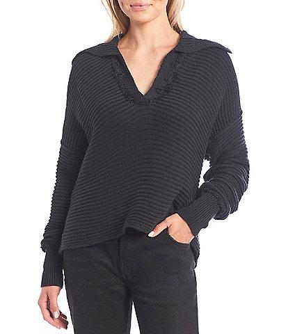 Free People Marlie Collar V-Neck Drop Shoulder Long Sleeve Oversized Pullover