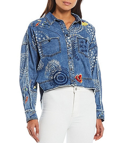 Free People Marrakesh Embroidered Denim Top