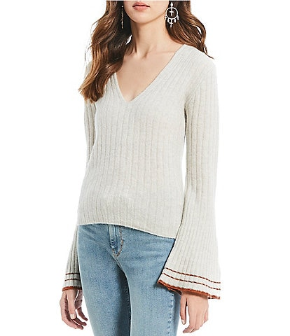 Free People May Morning Wool Blend Ribbed Striped Cuff Bell Sleeve Sweater