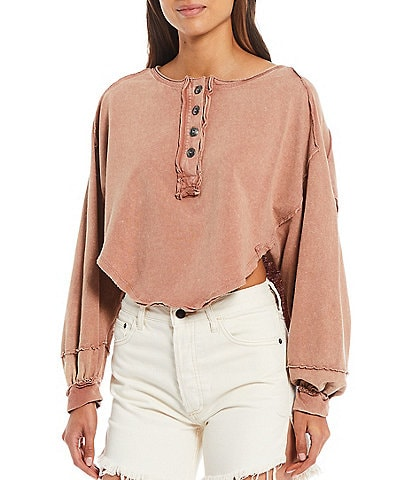Free People Melodi Dropped Shoulder Long Sleeve Boxy Cropped Henley Top
